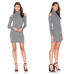 Splendid Gray Ribbed Cold Shoulder Mock Neck Dress